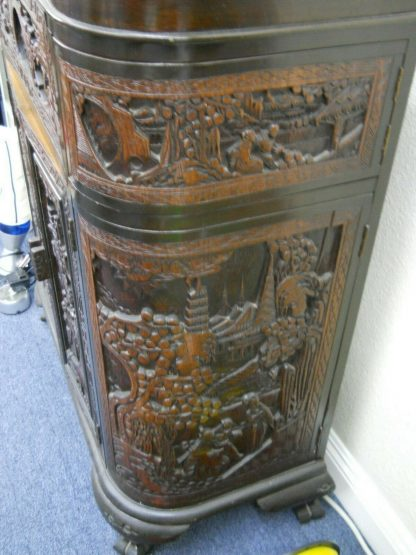 Vintage Wood Chinese hand carved Bar Coffee table stacked Table set Local pickup 264583501882 10
