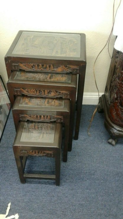 Vintage Wood Chinese hand carved Bar Coffee table stacked Table set Local pickup 264583501882 5