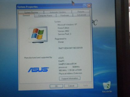 ASUS EEE 900 9 Netbook Notebook 2GB RAM SSD HD Windows XP Excellent Condition 274147837147 2