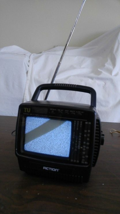 Vintage Portable 45 bw Tv with AMFM Radio and LCD Alarm Clock Action 274147844887