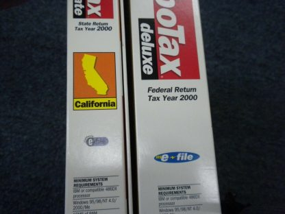 2 CDs Intuit TURBO TAX 2000 Deluxe Federal and State of California for Windows 264349686658 2